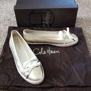 Cole Haan metallic gold shoes